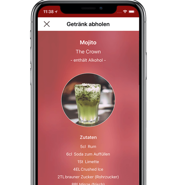 App shows available free drinks