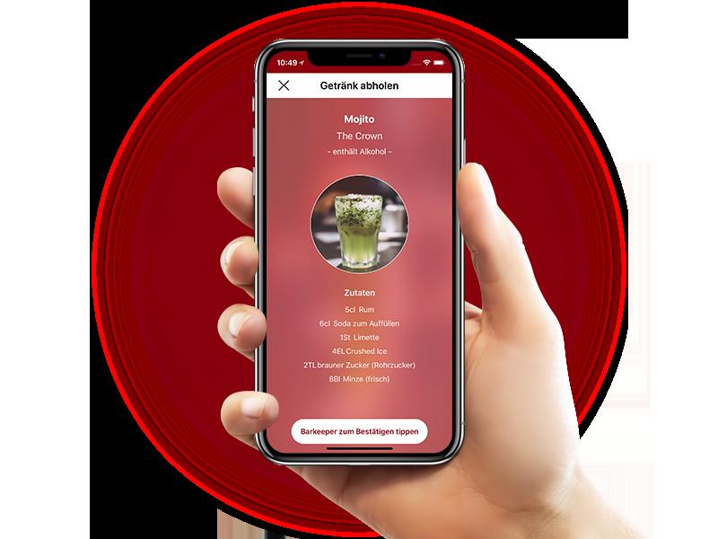 Hand hält Handy mit Prost App
